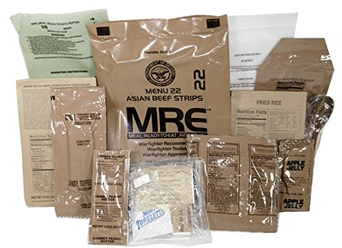MRE (Meals Ready-to-Eat) Genuine US Military Surplus with Menu Selections (Asian Beef Strips)