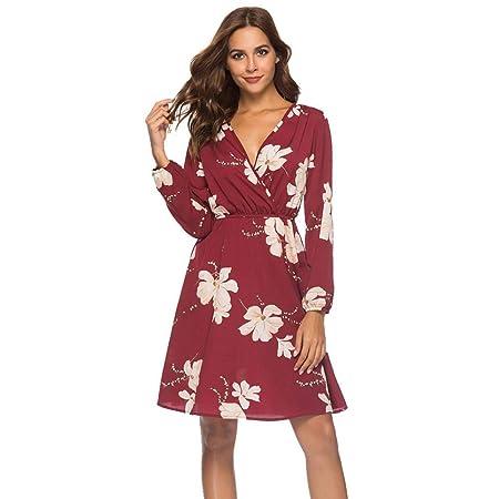 ZHRUI Vestido de Fiesta con Estampado Floral Festivo con Cuello en V para Mujer (Color : Negro, tamaño : Medium): Amazon.es: Hogar
