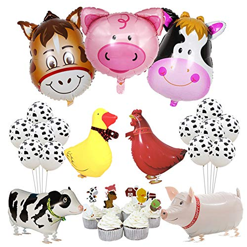 KREATWOW Farm Animal Party Decorations Farm Walking Balloons Cupcake Toppers for Boy or Girls Barnyard Birthday Party Supplies ()