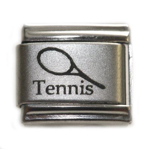 SEXY SPARKLES Sports Tennis Racket Laser Engraved Italian Charm 9mm -