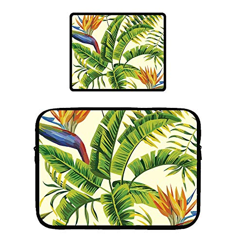 13 inch Microsoft Surface Book Protective Soft Sleeve Case Cover Bag Safe Interior Locking Edge Mouse Pad, Hawaiian Plant Color Flowers