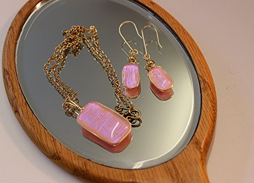 Rose Pink Icy Blue Necklace and Earring Set, Shimmery Dichroic Glass, Dangle Earrings