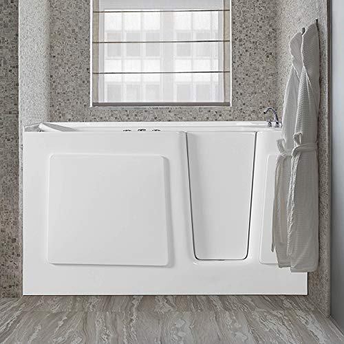 "WOODBRIDGE Whirlpool and 18 Air Jet Series Inline Heater with Right Side Drain Walk-in-Bathtub, ADA Complaint, 60"" L x 30"" W x 38"" H, WB603038R, white"