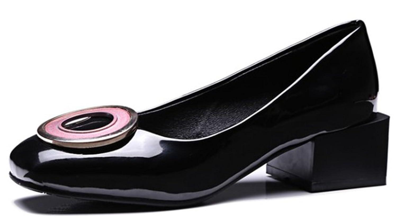 IDIFU Women's Classic Mid Heels Chunky Square Toe Slip On Pumps Shoes