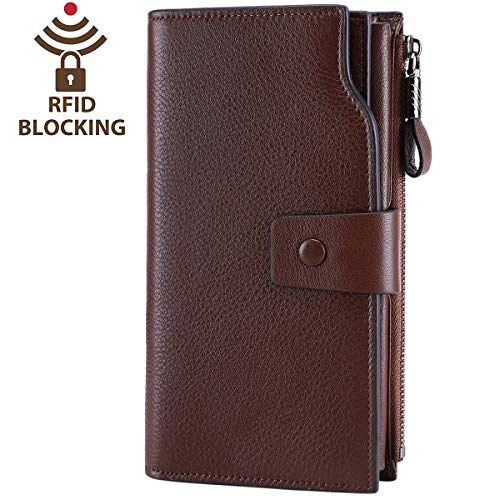 Itslife Women's RFID Blocking Large Capacity Luxury Wax Genuine Leather Clutch Wallet Card Holder Organizer Ladies Purse (2-Natura Coffee RFID BLOCKING) (Holder Two Id Fold)