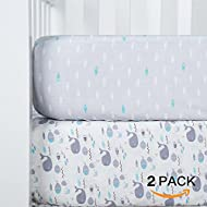 """TILLYOU Printed Crib Sheets Set for Baby Bed, 2 Pack - 100% Woven Cotton Fitted Crib Mattress Sheet, Soft & Breathable Toddler Sheets 28""""x52"""" - Sea World (Gray) & Fish (Blue)"""