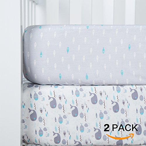 """TILLYOU Organic Crib Sheet Set, 100% Cotton Printed Toddler Sheet Set For Baby Boys and Girls, Soft Breathable Hypoallergenic, 28""""x52"""", 2 Pack Sea World (Gray) & Fish (Blue) from TILLYOU"""