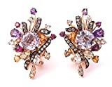 LeVian 9.69 cttw Cotton Candy Amethyst Multi Gemstones Chocolate Vanilla Diamond Earrings 14k Solid Rose Gold Length 1.32""