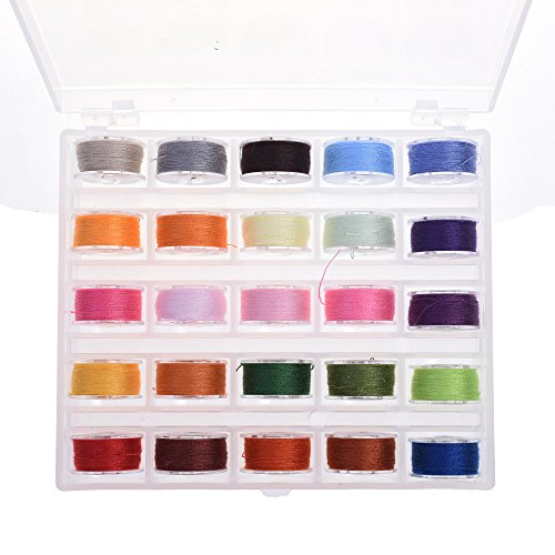COSMOS Pack of 25 Bobbins and Sewing Threads with Storage Case