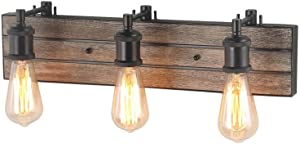 """LOG BARN 3 Lights Farmhouse Vanity Light in Real Antique Wood and Dark Brown Metal Finish, 21.3"""" Wall Sconce for Bathroom"""