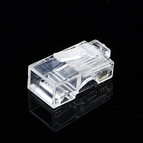 100-PACK Cat 6 RJ45 Connector, UTP Network Plug For Solid Wire and Standard Cable, Transparent Photo #5