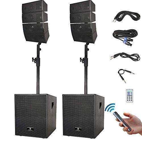 - RECK Club 3000 12-Inch 3000 Watt DJ Speaker Powered PA Speaker System Combo Set with Bluetooth/USB/SD Card/Remote Control (Two Subwoofers and 8X Array Speakers Set)