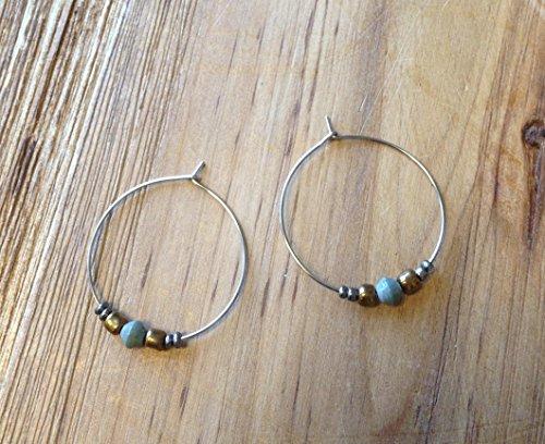 Paper Bead Hoop Dignity Earrings - Sage - Fair Trade Beadfor