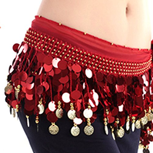 Belt Harem Coin (ESHOO Women Chiffon Belly Dance Hip Scarf Ruffled Coin Belt Skirt Hip)