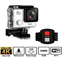 Sports Action Camera, 30M 4K Underwater Camera with Wireless Remote Controller Ultra HD DV Camcorder 1080P 60fps 12MP 170 Degree Wide Angle , All in One Kit Set (with 20 Outdoor Mounting Kits )