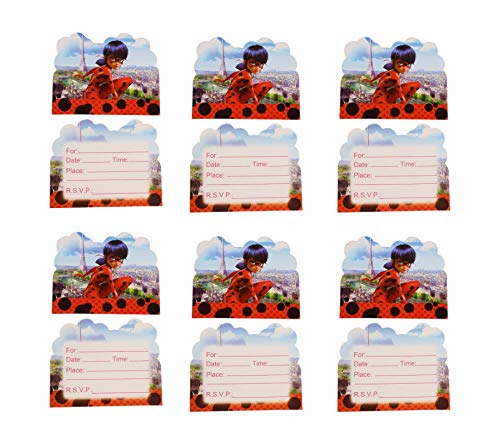 (Astra Gourmet Miraculous Ladybug Party Favors - 24 Pack Miraculous Ladybug Party Invitation Cards for Baby Boy Birthday Cake Kids Party)