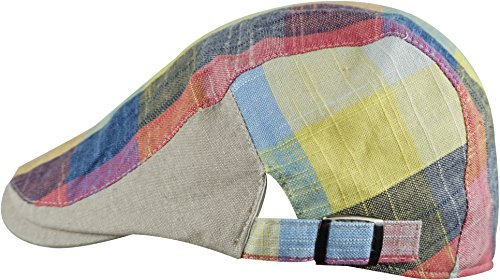 Fashion Plaid Ivy Cap Rainbow Beret Cabbie Hat, Rainbow Yellow, One Size ()