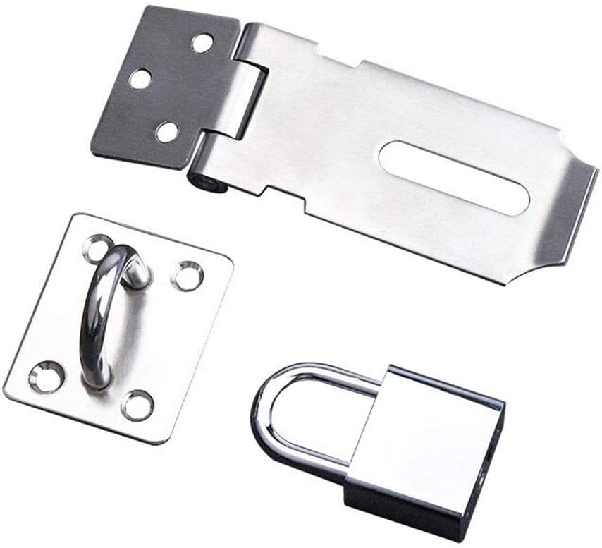 MUMA Stainless Steel Padlock Hasp Door Clasp Door Lock Gate Latch 4 Inches, With Screws,Silver (Size : 5 inch)