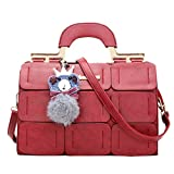 ThinkMax Fashion Women Leather Crossbody Bag Fuzz Ball Pendant Solid Color Shoulder Bag Satchel
