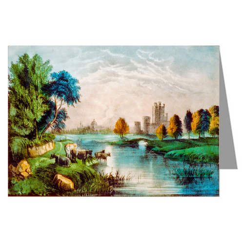12 Note Cards of Currier and Ives Handcolored Lithograph Depicting a Scene in Old Ireland.