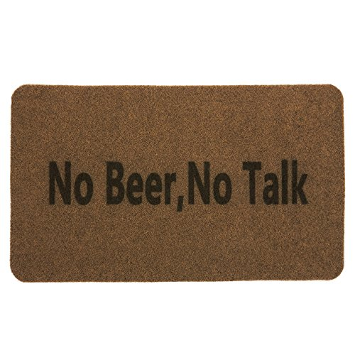 Outdoor Mat - No Beer No Talk - Funny Welcome Mat for Front Entrances, Patio Doors, Garage Entrances - All Weather - Durable - Slip Resistant, Brown, 27 x 0.4 x 15.75 Inches