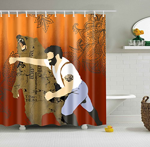 KiKi Monkey Man Punch Bear Move Shower Curtain Bathroom Curtains Soft Endurable Mildew Free Water Proof Mold Draperies Hook Rings