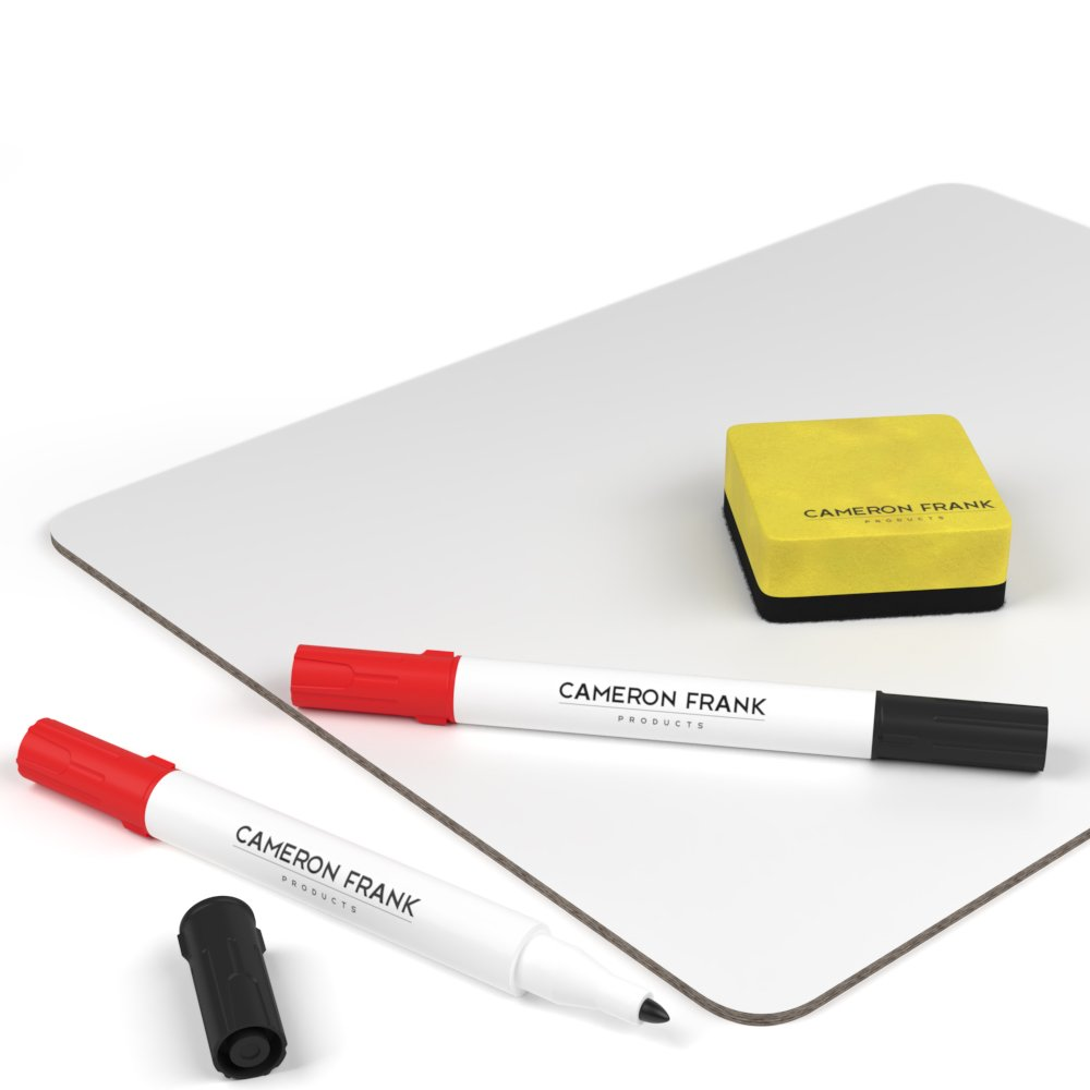 Dry Erase Whiteboards Set, Small White Boards Great for Students and Classrooms, 9x12 Inch Mini Lap Board with Red Black Markers and Erasers (30 - Pack) by Cameron Frank Products (Image #6)