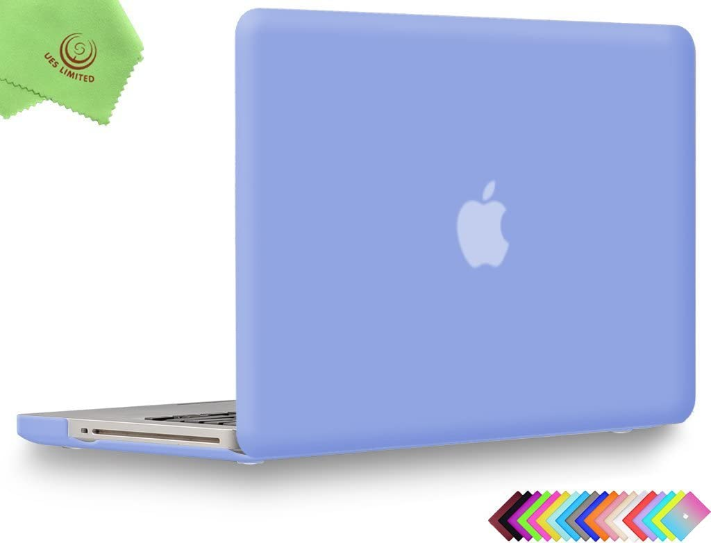 UESWILL Smooth Soft-Touch Matte Hard Shell Case Cover for MacBook Pro 13 inch with CD-ROM (Non-Retina) (Model A1278) + Microfibre Cleaning Cloth, Serenity Blue