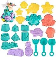 Beach Sand Toy Set, 21pcs Sand Molds Beach Shovel Tool Kit, Outdoor Beach Sandbox Toys for Boys, Girls,Toddler