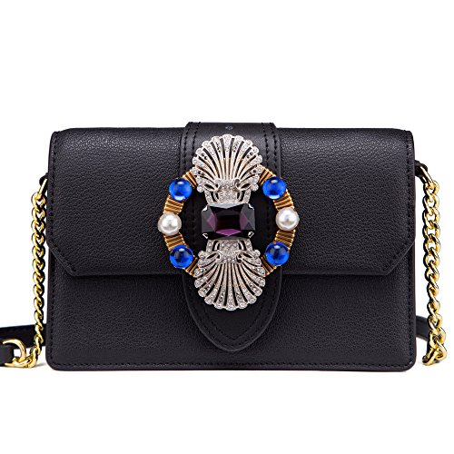 7dd757992469 LA FESTIN Ladies Cute Bags Dazzling Jewels Shoulder Chain Purse Leather  Black - Buy Online in UAE.
