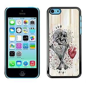 GOODTHINGS Funda Imagen Diseño Carcasa Tapa Trasera Negro Cover Skin Case para Apple Iphone 5C - cráneo de la bandera pirata del corazón rojo gris