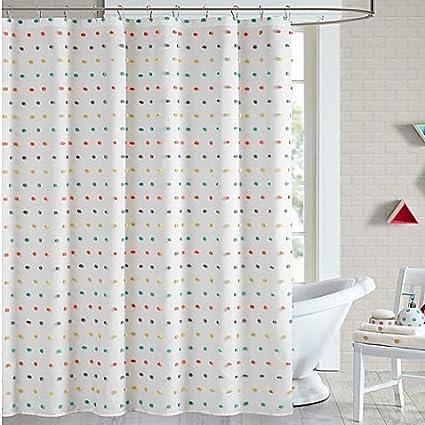 Shower Curtain Mini Pom Tufts 72 Inch X