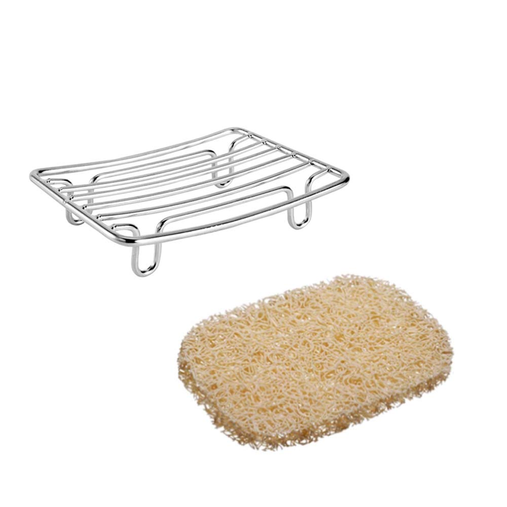Guukar Stainless Steel Bar Soap Dish, Rust Proof Soap Sponge Holder, a Beige Soap Saver Lift, Self Draining Soap Dishes for Shower, Bath, Rv, Tub and Kitchen Sink, 2 Pack