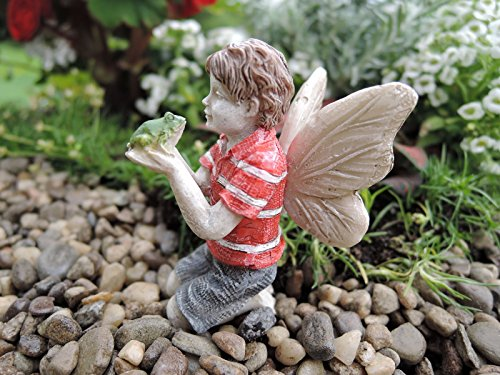 "2.25"" Ethan - Boy Holding Frog Miniature Figurine - Garden Mini Figure - Miniature Garden Statue - Best Outdoor Accessory"