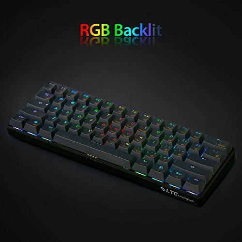 LeaningTech LTC K61 61-Key RGB LED Backlit Bluetooth Wireless/Wired Multi-Device Mechanical Keyboard for PC / Mac / iPad / iPhone / Smartphone / Laptop, Brown Switch by LEANINGTECH (Image #2)