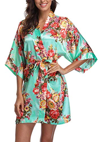 (Women's Floral Satin Short Robe Bathrobe Bridesmaid Gift Bridal Party Wedding Favor (Adult Regular (US 2-14), Mint))