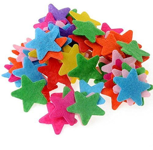 200PCS Assorted Shape Multicolor Fabric Embellishments Felt Pads Appliques for DIY Craft Decoration and Sewing Handcraft (Star shape) by Flyott