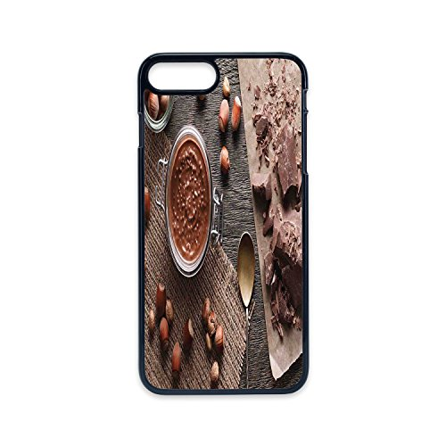 Phone Case Compatible with iPhone7 plus iPhone8 plus 2D print Black edge,Modern,Natural Chocolate Cocoa Cream Image Rustic Style Image Cafe Home Art Design Wooden Surface,Brown,Hard Plastic Phone Case (Brown Diamond Cafe Diamond)