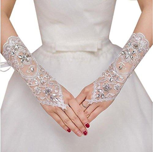 MisShow Lace Fingerless Rhinestone Bridal Gloves for Wedding Party,Ivory 2,One Size