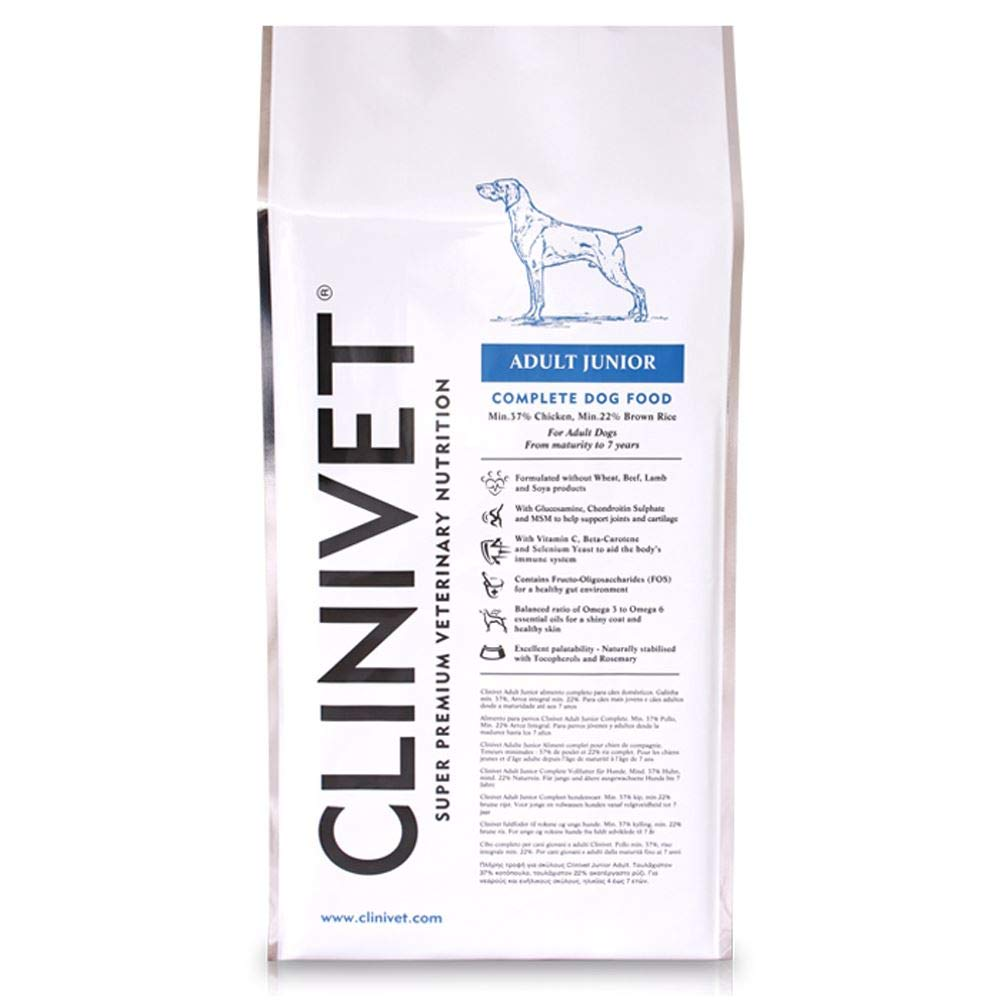 15 kg Clinivet Adult Junior Super Premium Natural Hypoallergenic Complete Dry Dog Food Rich in Predein and Vitamins, 15kg