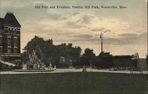 Old Fort and Fountain, Central Hill Park Somerville, Massachusetts Original Vintage Postcard