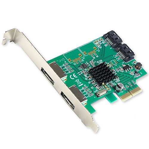 I/O CREST 2 Port SATA III and 2 Port eSATA III PCI-e 2.0 x2 Non RAID Hard Drive Controller Card Marvell 9235 Chipset by I/O CREST