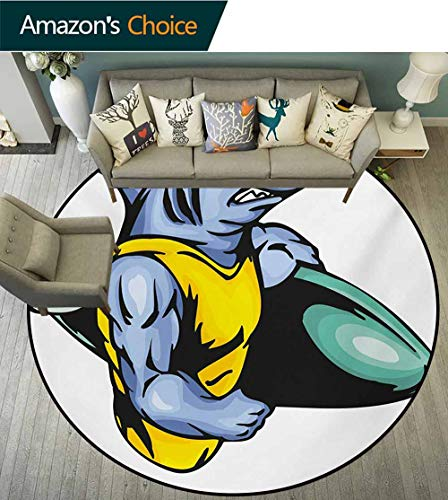 Shark Rug Round Home Decor Area Rugs,Grumpy Surfer Shark With Muscled Body Exotic Sports Mascot Cartoon Non-Skid Bath Mat Living Room/Bedroom Carpet,Diameter-24 Inch Pale Blue Yellow Jade Green