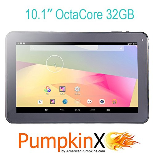 2015 New Model 10.1'' 32GB Octa-Core A83T 8-Core 2.0GHz CPU Android KitKat 4.4.4 Tablet PC, 1GB RAM, 8-Core GPU, HD 1024x600, Dual Camera 2MP, Dual Speakers, HDMI, Wifi, Bluetooth, Google Play - PumpkinX by American Pumpkins
