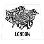 Ork Posters Typographic Greater London Boroughs Map Poster