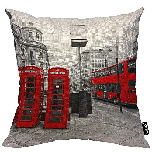 Mugod London City Throw Pillow Case Double-Decker Bus...