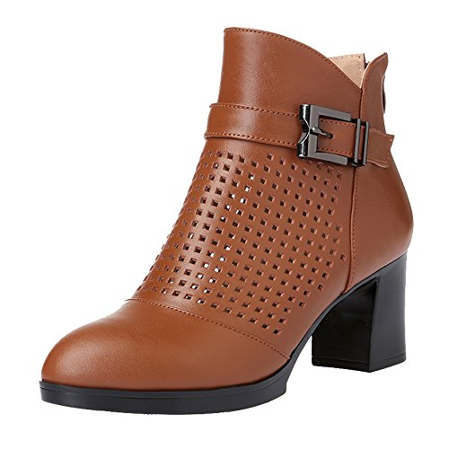 Heel Chunky Round Dethan Brown Women's High Boots Ankle Toe OHXnwB4nWq