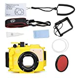 Sea Frogs 195FT/60M Underwater camera waterproof diving housing for Olympus TG-5 Yellow (Housing + Red Filter)