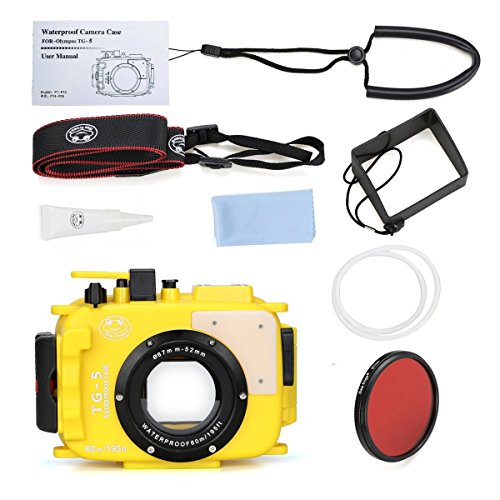 Sea Frogs 195FT/60M Underwater camera waterproof diving housing for Olympus TG-5 Yellow (Housing + Red Filter) by Sea frogs