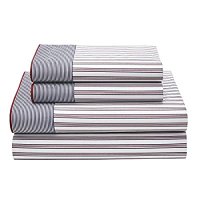 Tommy Hilfiger Ellington Stripe Queen Sheet Set, Red - 4 piece set Cotton rich Set includes (1) fitted, (1) flat and (2) Std. Pillowcase - sheet-sets, bedroom-sheets-comforters, bedroom - 51oCqcZr pL. SS400  -